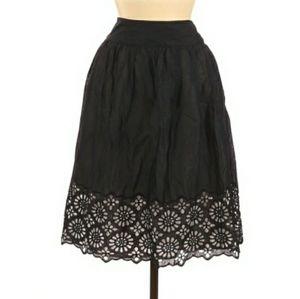 Michael Michael Kors Black Midi Skirt  Floral Hem